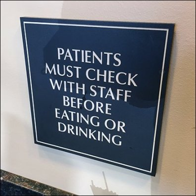 No Eating Or Drinking By Clients Feature