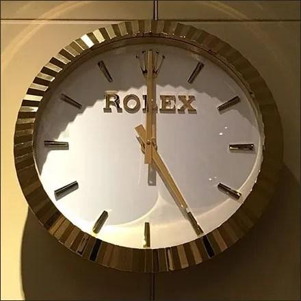 Wrist Watch Store Fixtures and Merchandising - Rolex Watch as Branded Wall Clock