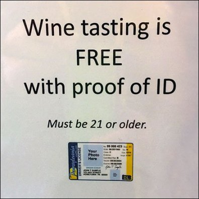 Wine Tasting Free With Photo Proof ID