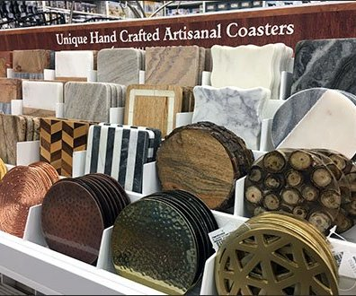 Hand-Crafted Artisanal Coaster Display Presentation
