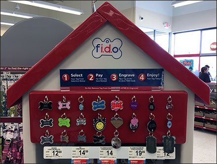 FIDO Engraved Dog ID Merchandising Display