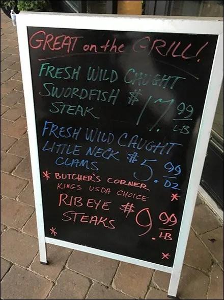 Fresh Wild Caught Little-Neck-Clams Chalkboard