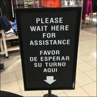 Wait Here Queue Control Sign