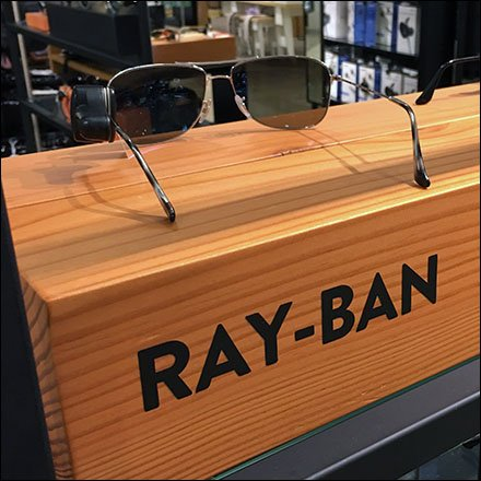 Ray-Ban Rectilinear Wood Branding Feature