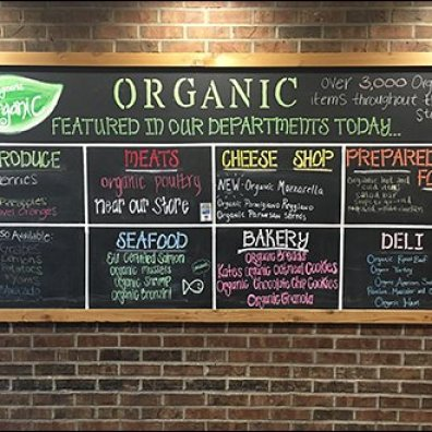 Chalkboard of Storewide Organic Choices