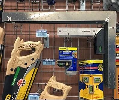 Carpenter Squares Nest Via Grid Display Hooks