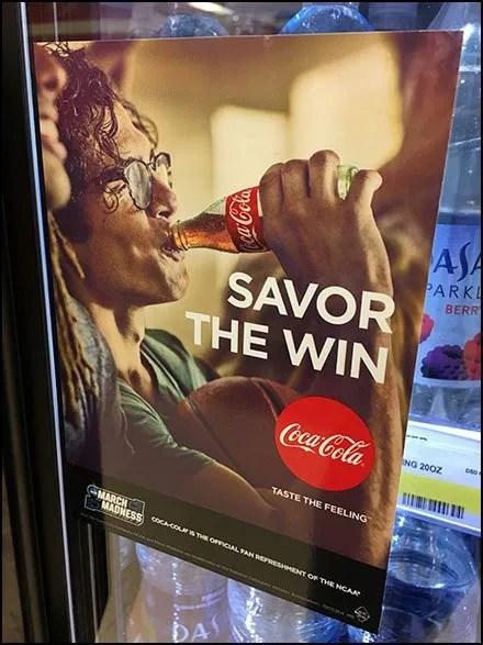 Coca Cola Cooler Door Savor The NCAA Win