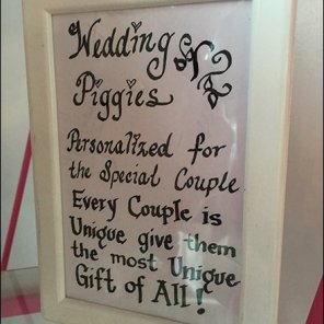 Wedding Piggies Hand-lettered Table Top Sign