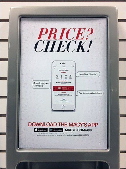 Macys Price Check Station Vs Mobile App Fixtures Close Up