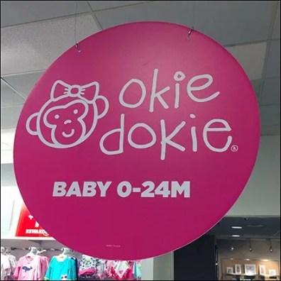 Okie Dokie Circular Branding Sign Ceiling