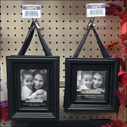 Ribbon Hung Frames on Pegboard Scan Hooks