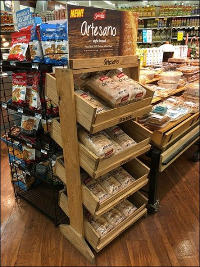 Logo Branded Fixtures - SaraLee Artesano Bread Declined Wood Rack