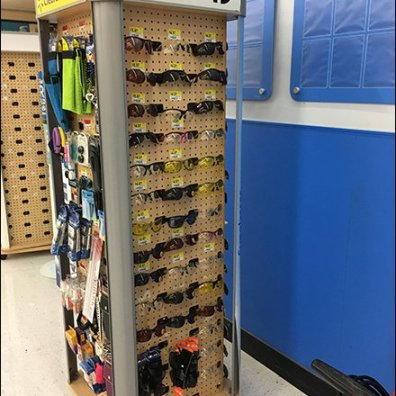 Simple Pegboard Hook Sunglass Display