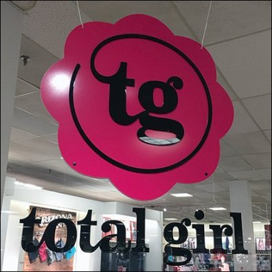 Total Girl Circular Branding Sign Ceiling