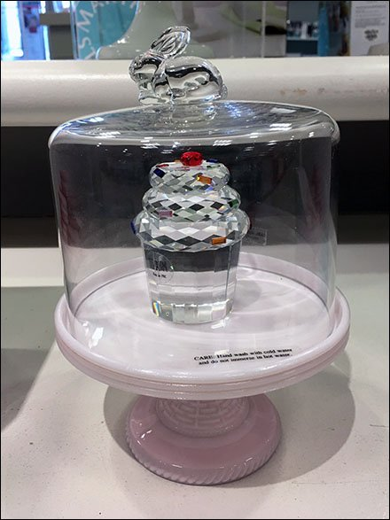 Cut Crystal Cupcake In Bell Jar
