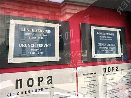 NOPA Kitchen+Bar Framed Outdoor Menu
