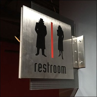 Spy Museum Mens and Womens Room Navigation Sign Feature