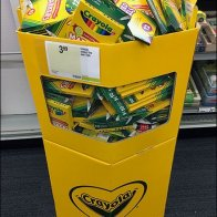 Corrugated Crayola Bulk Bin With Kid-Height Access