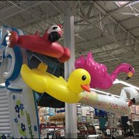 Swim Inflatables Fly Via Fishing Line