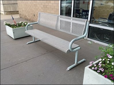 All-Weather Perforated Metal Bench Outdoor Seating
