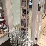 Literature Holder And Retail Carry Basket Stand