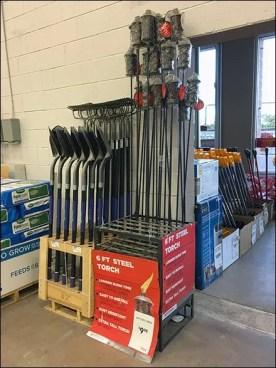 Steel Tiki Torch In Steel Display Floor Rack