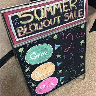Color-Coded Summer Blowout Sale Easel