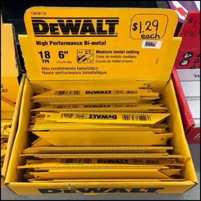 DeWalt Dollar Store Saber Saw Blade Merchandising