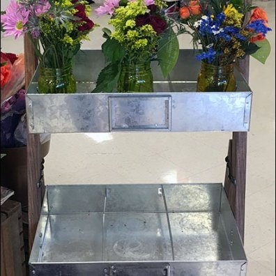 Galvanized Tray Flower Merchandising