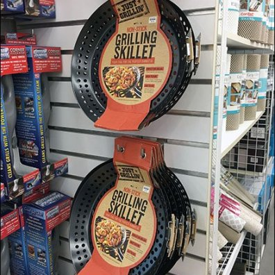 Grilling Skillet Slatwall Display Via Hook Twins