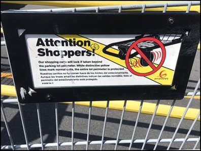 Shopping Cart Mounted Anti-Theft Sign