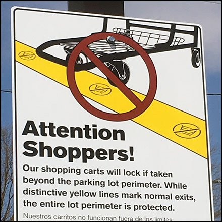 Schiel's Market Store Fixtures - Invisible Fence Shopping Cart Anti-Theft Strategy