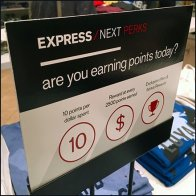 Express Perks Loyalty Program Signage Feature