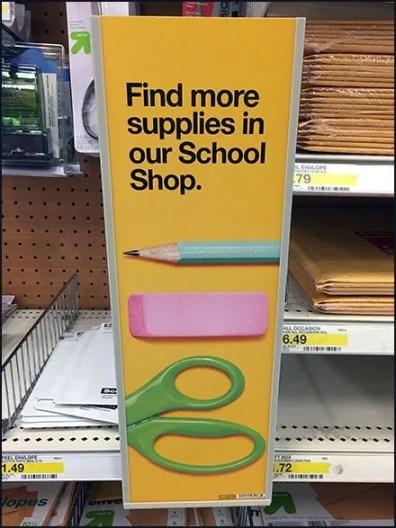 Find More School Supplies Shelf-Edge Sign