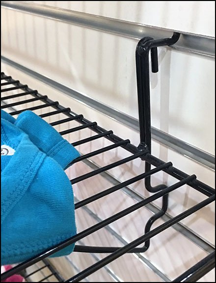 Dual Capability Wire Shelf For Grid and Slatwall