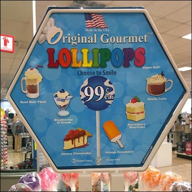 Original Gourmet Lollipop Tree Flavors Sign