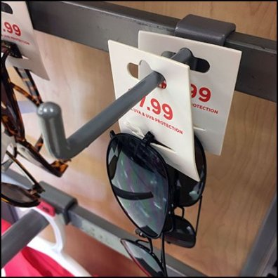 Sunglasses Accessory on 90º Tip Bar Hook