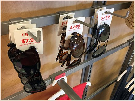 Sunglasses Accessory on 90º Tip Bar Hook