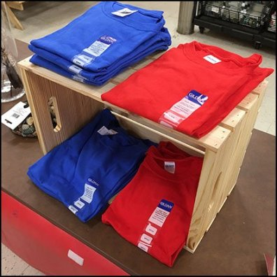 T-Shirt Wood Crate Merchandising Feature