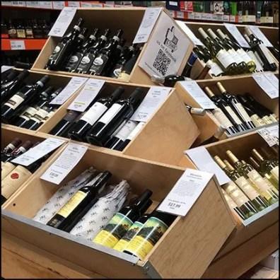 Bottled Wine Banks of Wood Bulk Bins