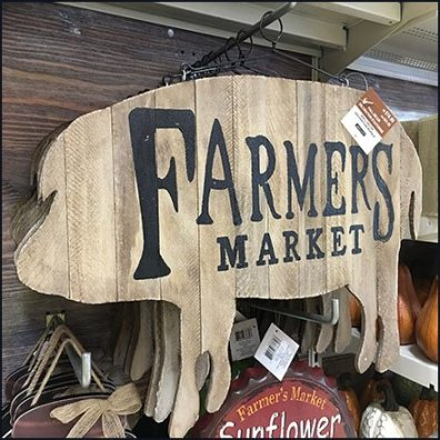 Farmers Market Sign 90º Tip Display Hook Feature