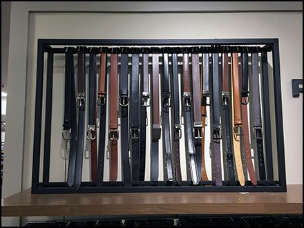Custom Design Vertical Belt Rack for Fossil