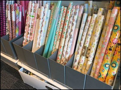 Shelf-Top Bulk Bins for Gift Wrap Stand Free