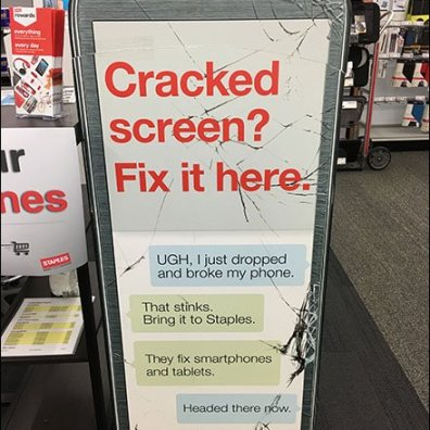 Giant Cracked Smartphone Vertical Sign