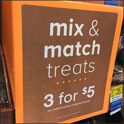 Pet Treats Endcap Three-fer Mix & Match Feature
