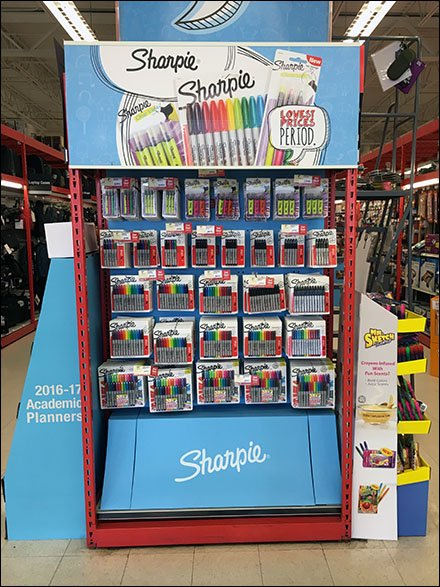 Attached-Back Sharpies Straight-Entry Hook Endcap