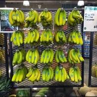 Expanded Metal Wall of Bananas Produce Display