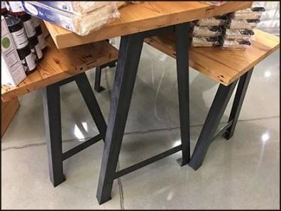 Wood Plank Triangular Trestle Tables