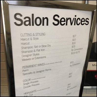 Bon-Ton Salon Services Menu At The Entry Feature