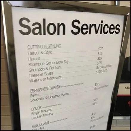 Bon-Ton Salon Services Menu At The Entry Feature